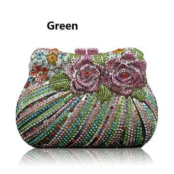 Bling Rose Clutch Purse Women Flower Rhinestone Crystal Clutch Bag Silver black