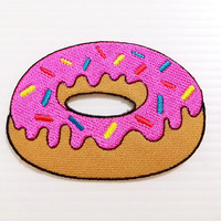 Strawberry Donut Pink Doughnut Food New Iron On Patch Embroidered Applique Size 7.8cm.x5.6cm.