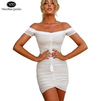 Strapless Ruched Lift Up Drawstring Women Mesh Sheer Dresses Off Shoulder Party Bodycon Dress Sexy Mini Club Dress New Vestidos