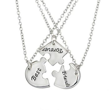 BFF 3 Piece Best Friends Puzzle Charm Pendant Necklace