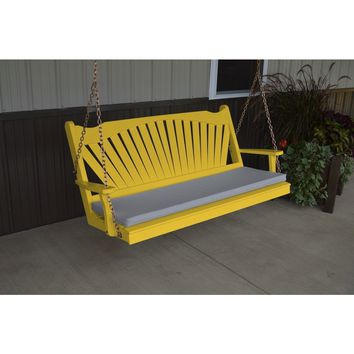 A & L Furniture Co. Yellow Pine 5' Fanback Swing  - Ships FREE in 5-7 Business days