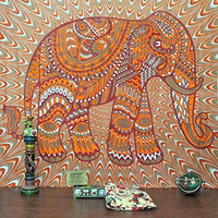 Jaipur Handloom Bohemian Ethnic Elephant Cotton Decorative Indian Wall Art Hanging 89x85""