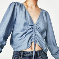 TIC-TEC 2017 Spring Women Fashion Vintage Deep V-neck Rope Blouses Sexy Jeans Denim Blue Shirts Female Casual Blusas Tops P3859
