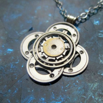 "Steampunk Flower Necklace ""Enigma"" Elegant Recycled Steampunk Gear Pendant Mechanical Plant Pendant Petal Clover Luck Gift"