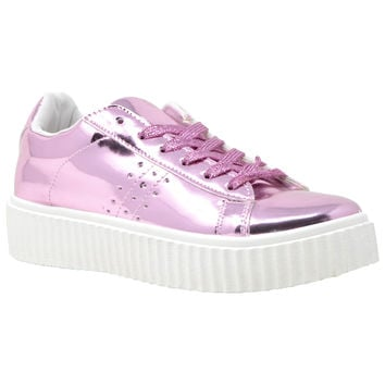Womens Platform Shoes Lace Up Sneakers Flatform Patent Shoes Pink
