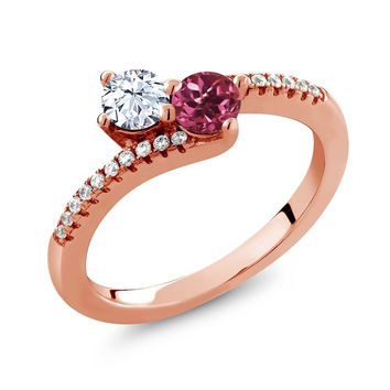 0.81 Ct White Topaz Pink Tourmaline Two Stone 18K Rose Gold Plated Silver Ring