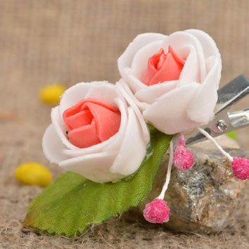 Handmade designer pink tender beautiful small festive flower hair clip