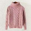 Pink High Neck Knit Sweater
