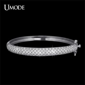 UMODE Luxurious Jewelry White Gold Color 129 pcs 0.03ct CZ simulated CZ Stone Pave Bangle Bracelets for Women