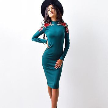 2017 Autumn Fashion Women Dress Bodycon floral Casual O-neck Long Sleeved Appliques Dresses Sexy Knee Length Pencil Dress