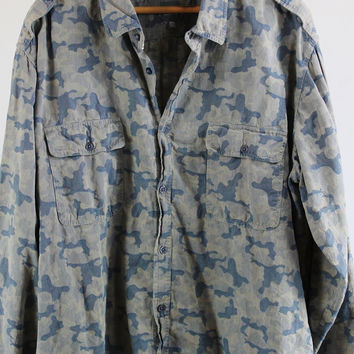 SALE - Retro Camouflage Shirt  - Mens Size XXL