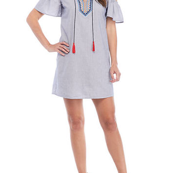 Jealous Tomato Short Sleeve Cold Shoulder Tassle Swing Dress