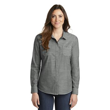 Port Authority Ladies Slub Chambray Shirt. Lw380 - Grey - Xxl