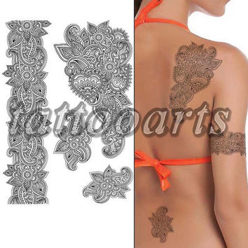 Black henna and lace pattern arm leg body art tattoo temporary woman makeup transfer sticker non toxic #9784