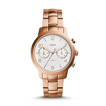 Caiden Multifunction Stainless Steel Watch, Rose Gold-Tone | FOSSIL