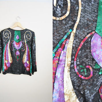 The Deco - Vintage 80s Black Multi-color Sequin Deco Style Jacket Party NYE