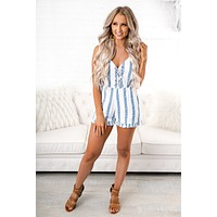 Lisbon Striped Romper (Blue)