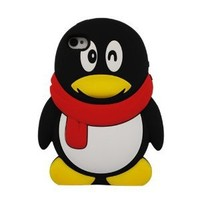 KIQ (TM) Male 3D Penguin Design Silicone Case Skin Cover for Apple iPhone 4 / 4G / 4GS with Screen Protector
