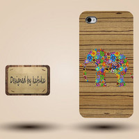 Iphone case, Iphone 4 case, Iphone 4s case, Iphone 5 case, unique handmade hard Plastic case, wood grain, floral Elephant