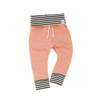 peach stripe sweatpants, baby heather sweats, organic kid pants, take home outfit, pink grey sweatpants, jogging outfi