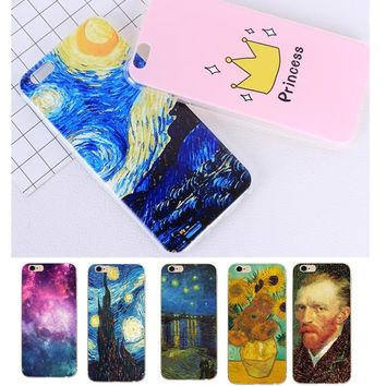 For Iphone X Van Gogh Oil Painting Starry Sky Back Cover Phone Case For iPhone 5 5S SE 6 6S 7 7 8 Plus X Soft TPU Phone Shell