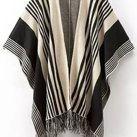 Black Striped Fringed Knitted Cardigan