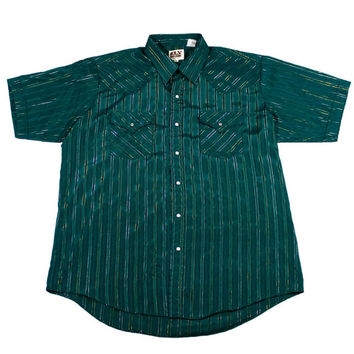 Vintage 90s Green Western Pearl Snap Button Up Shirt with Gold Stripes Mens Size XL
