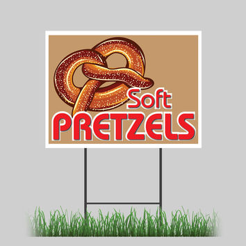 """18""""x24"""" Soft Pretzel Yard Sign Salted Baked Hot Dog Cheese Concession Stand Sign"""
