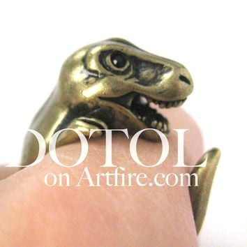 Dinosaur T-Rex Prehistoric Animal Wrap Around Hug Ring in Brass - Size 4 to 9 Available