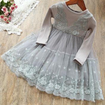 Solid Autumn Lace Dresses for Girls Kids Flower Embroidery Ball Gown for Winter Party Children Girl Cotton Long Sleeve Clothing