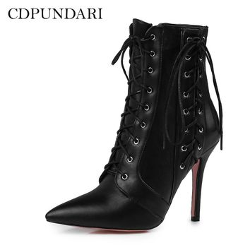 CDPUNDARI Pointed Toe Ankle boots for women Cross strap High heel boots shoes woman botas mujer botte femme zapatos mujer