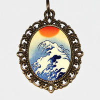 Sun And Waves Necklace, Ocean Jewelry, Japanese, Wave Necklace, Ukiyo-e, Bronze Oval Pendant
