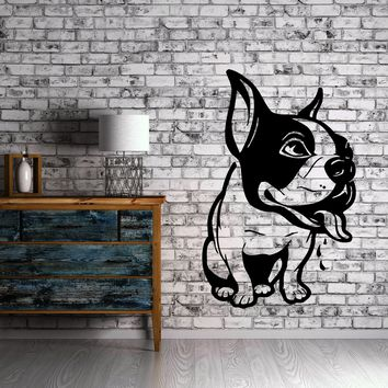 Cute French Bulldog Puppy Animal Decor Wall MURAL Vinyl Art Sticker Unique Gift M348