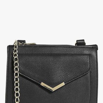 Megan Envelope Metal Trim Cross Body Bag | Boohoo