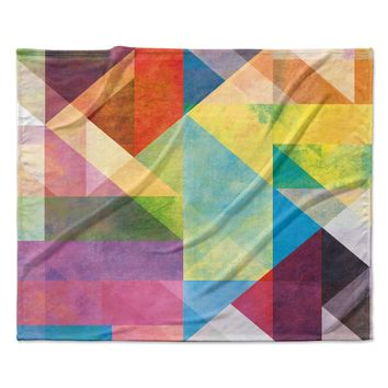 "Mareike Boehmer ""Color Blocking II"" Rainbow Abstract Fleece Throw Blanket"