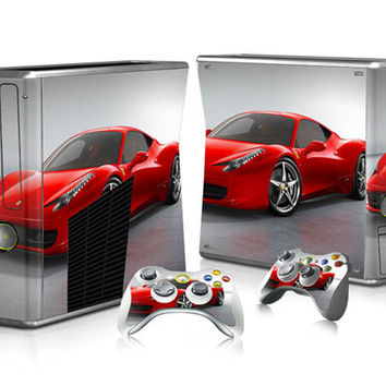 Fashion Protector Vinyl Decal Sticker Skins For Xbox 360 Slim Stickers Console + 2 Controller Skins Cover For X Box 360 Slim