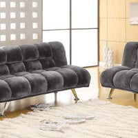 Furniture of america CM2904GY 2 pc. marbelle contemporary style gray champion fabric seat futon/bed sofa and chair set