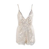 Evelyn Belluci Beige Sequin Playsuit Romper