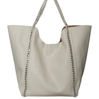 Light Gray Vegan Leather Tote Bag