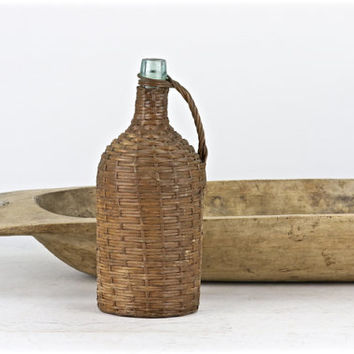 Vintage Demi John Bottle, Demi John Bottle, Wicker Wrapped Bottle, Old Demi John Bottle, Vintage Bottle, Old Bottle