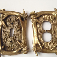 2 shabby chic gold antlers, 1 light switch cover and 1 outlet cover, set