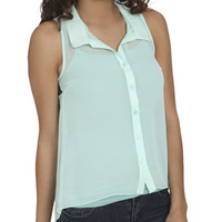 Lace Yoke Chiffon Shirt | Shop Tops at Wet Seal