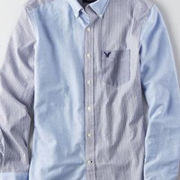 AEO Men's Oxford Colorblock Button Down Shirt (Light Blue)