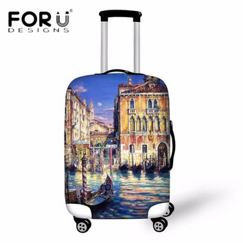 FORUDESIGNS Vintage Travel Luggage Suitcase Protective Covers Waterproof Thick Cover for 18-30 Inch Trolley Case Elastic Cover