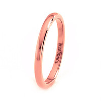 Mens Tungsten Carbide Wedding Band Ring 2mm 18k Rose Gold Plated Domed High Polished 5-15 Half Sizes Traditional Comfort Fit Custom Engraved