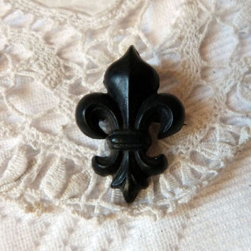Victorian mourning jewelry gutta percha brooch pin French 1800s antique fleur de lis lys brooch jewelry mourning pin, gothic jewelry brooch