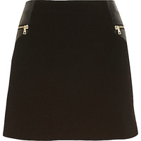 River Island Womens Black zip trim mini skirt