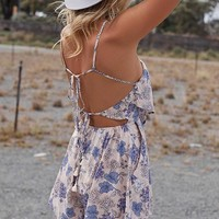 White Floral Print Tie Back Off Shoulder Backless Mini Dress