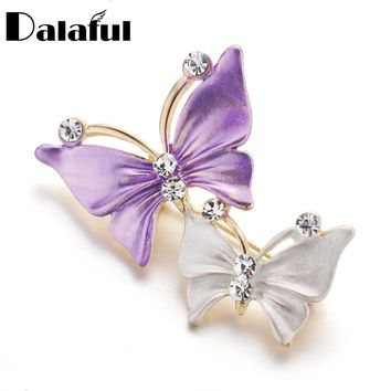 Dalaful Cute Butterfly Brooches for Women Lady Alloy Fashion Crystal Rhinestones Brooch Pins Jewelry Boutonniere Gift Z055