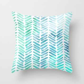 Handpainted Chevron pattern - light green and aqua - stripes #Society6 Throw Pillow by Simplicity of life